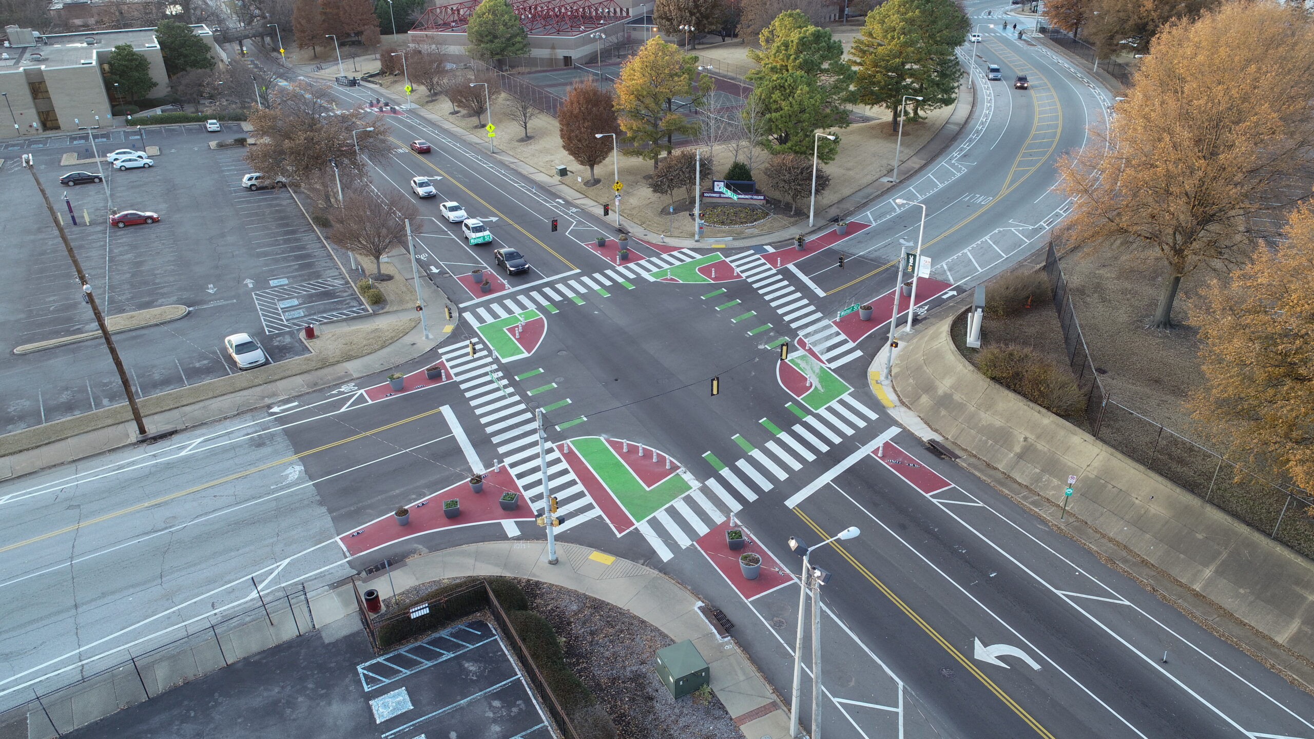 a protected intersection viewed from above on MLK ave