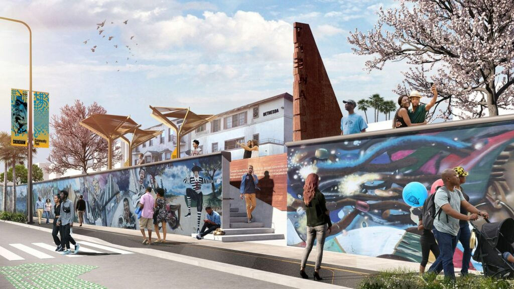 Rendering of Destination Crenshaw. In the foreground people walk along a sidewalk next to an mural. In the background are blooming trees and buildings.